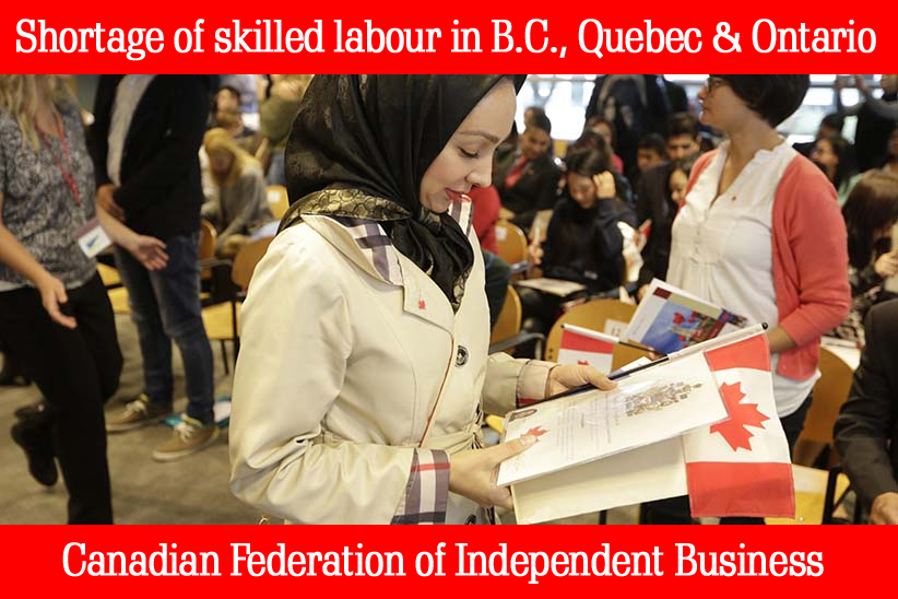 Shortage of skilled labour in BC Quebec Ontario